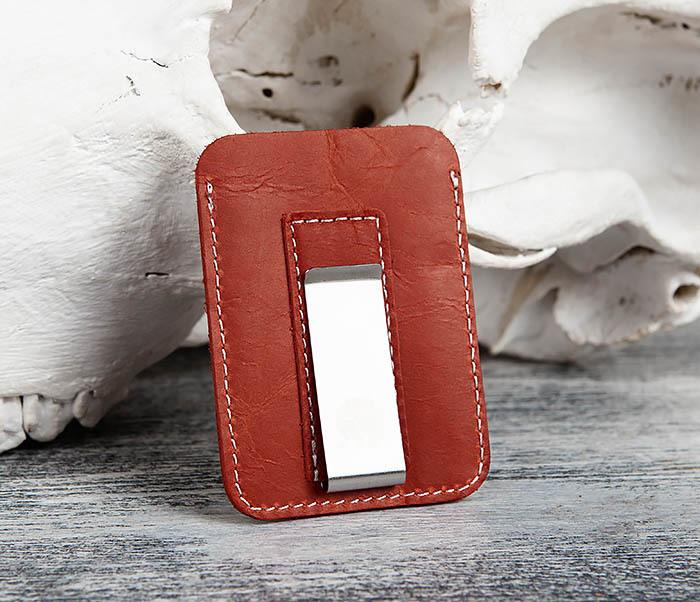 WL300-3 Оригинальный зажим для купюр из стали и кожи фото 02
