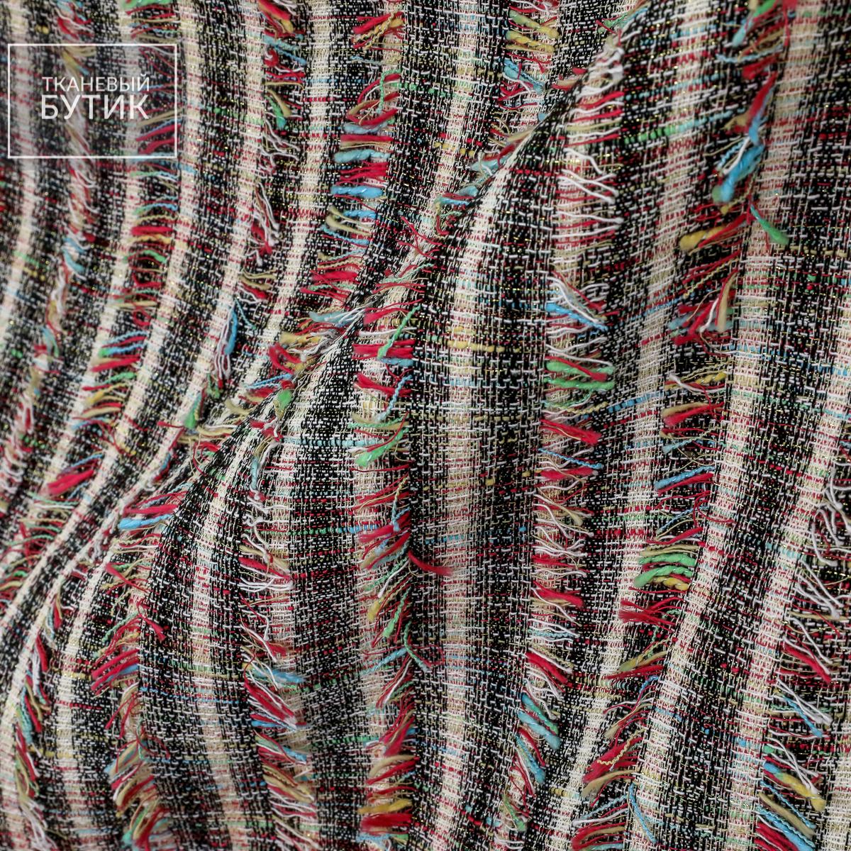 Хлопково-вискозная ткань в полоску с разноцветной бахромой