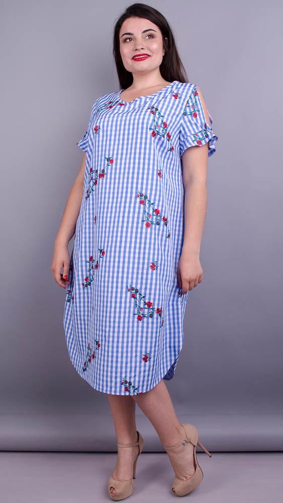 Юна. Оригінальна сукня плюс сайз. Клітинка велика.