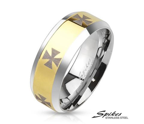 Широкое золотистое кольцо «Spikes» с крестами