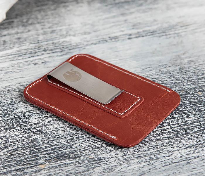 WL300-3 Оригинальный зажим для купюр из стали и кожи фото 04