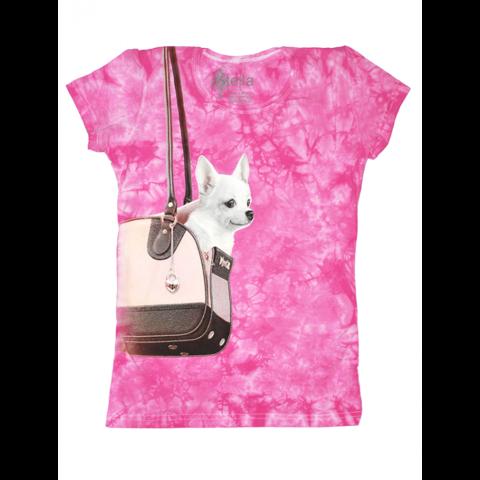Футболка женская собачка в сумке