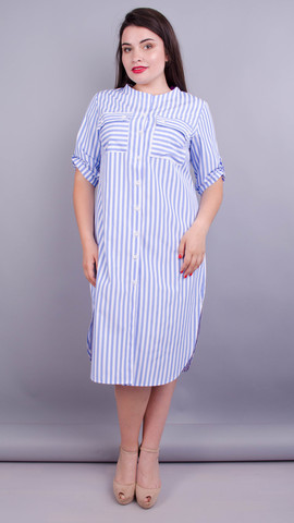 Любава. Платье рубашка больших размеров. Голубая полоса.