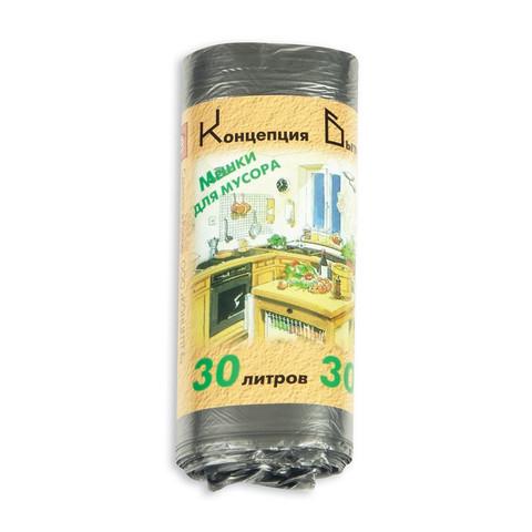 Мешки для мусора ПНД 30л 48x60см 10мкм черные 30шт/рул Концепция Быта