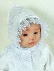 Велюровый наряд на крестины девочке Мари белый