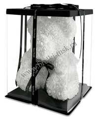 Белый мишка из 3D роз с черной фирменной лентой 40 см.