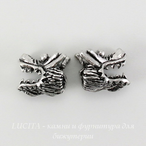 """Бусина металлическая для пандоры """"Дракон"""" (цвет - античное серебро) 13х11 мм"""