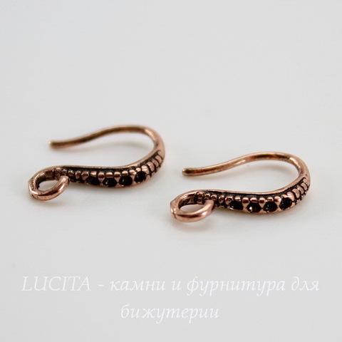 """Швензы - крючки """"маленькие"""", 13 мм (цвет - античная медь), пара (светлые)"""