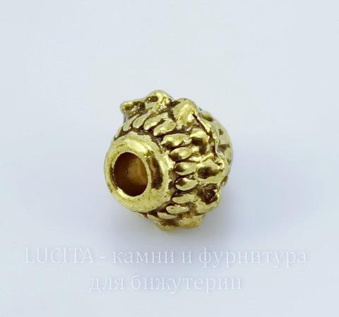 """Бусина металлическая """"Фонарик"""" 7х7 мм (цвет - античное золото), 10 штук"""