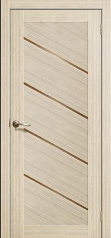 Дверь La Stella 215, стекло матовое, цвет ясень латте, остекленная