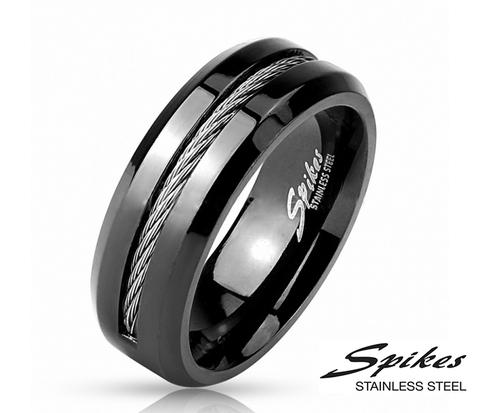 Мужское черное кольцо из стали с тросом, «Spikes»