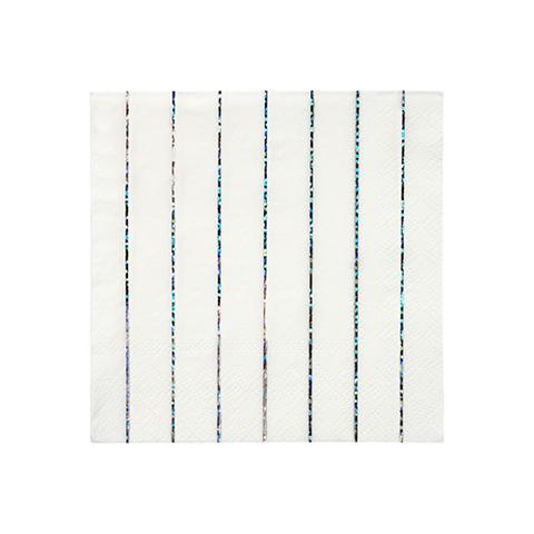 Салфетки сверкающие серебряные голографические полосатые, маленькие