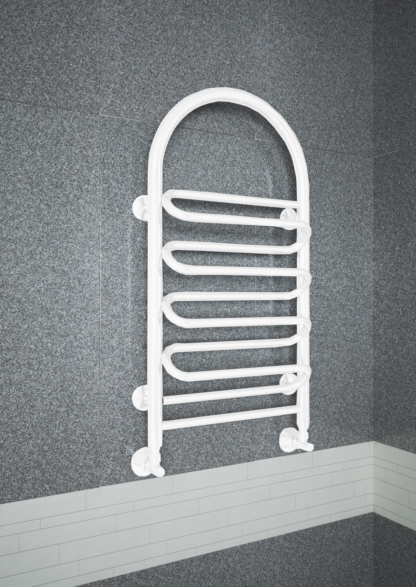 Liana - водяной полотенцесушитель с изогнутой перекладиной белого цвета.