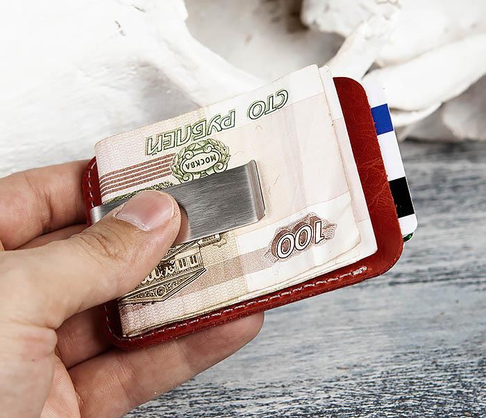 WL300-3 Оригинальный зажим для купюр из стали и кожи фото 09