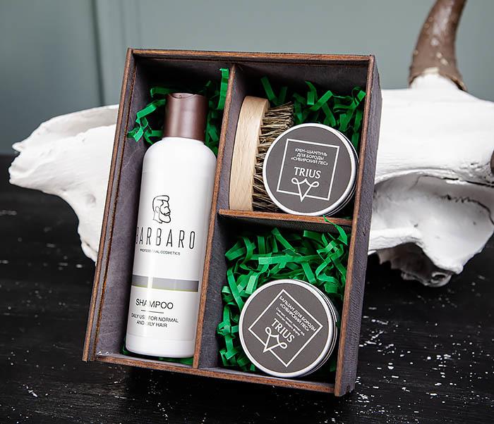 Подарочный набор средств для ухода за бородой: шампунь, бальзам и щетка