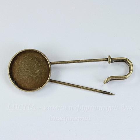 Основа для броши - булавка с сеттингом для кабошона 20 мм, 63х22 мм (цвет - античная бронза)