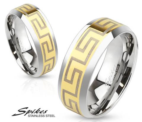 Золотистое мужское кольцо «Spikes» из стали с узором