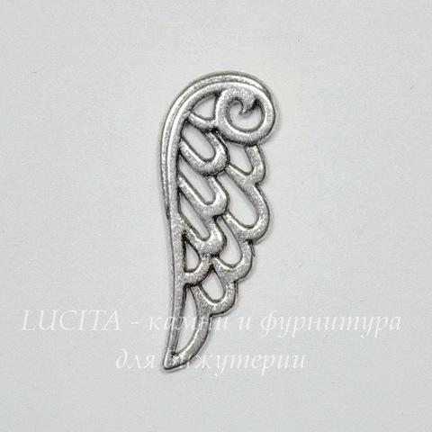 """Подвеска """"Крыло ажурное"""" 24х9 мм (цвет - античное серебро)"""
