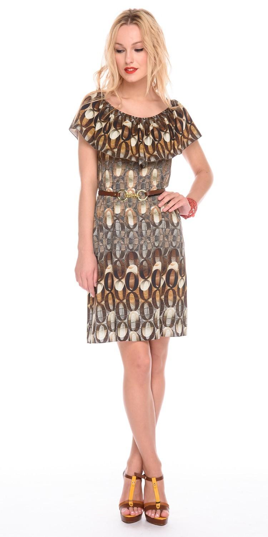 Платье З186-725 - Платье свободной формы с широким круглым вырезом горловины, украшенным  широким воланом. Комфортное и стильное платье на каждый день и для отпуска. Пояс в комплект не входит.