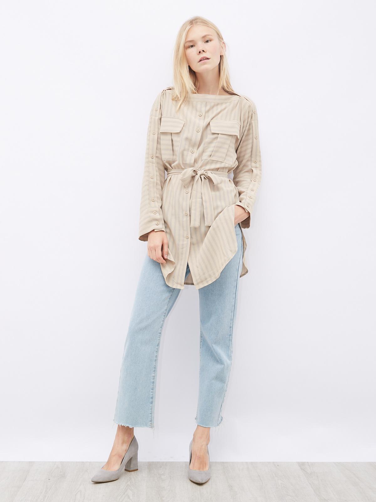 Блуза в полоску c пуговицами на рукавах