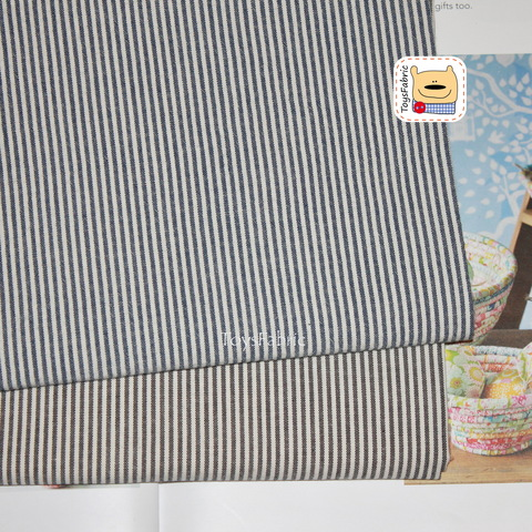 Ткань хлопок Корея 20867 (тёмно-синяя полоска двусторонняя) 45х55см