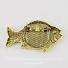 """Основа для броши """"Рыбка"""" с сеттингом для кабошона 20 мм (цвет - античное золото)"""