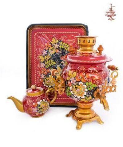 Самовар электрический в росписи «Птица дивная» формой овал 3 л в наборе с подносом и чайником