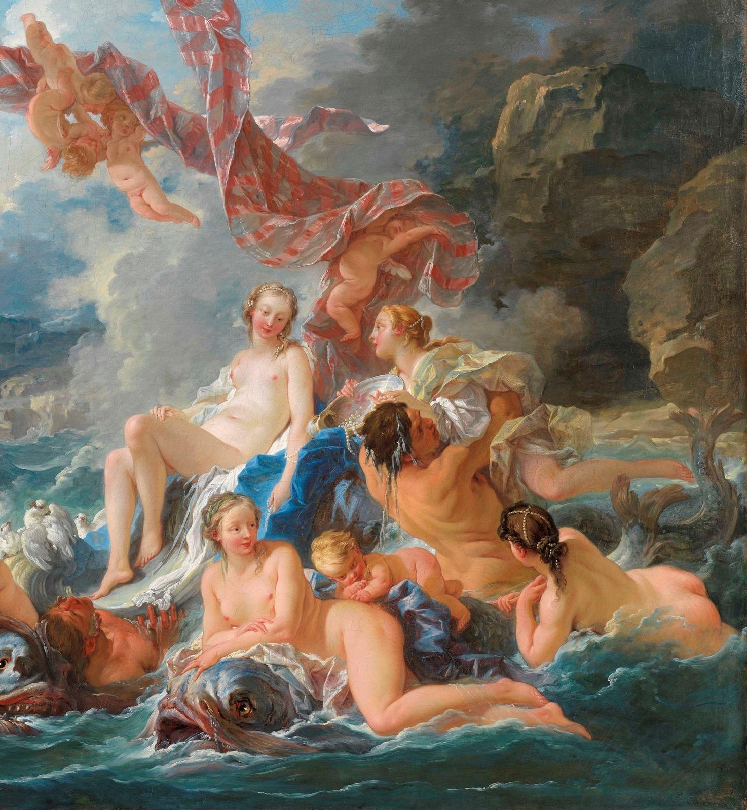 Франсуа Буше. 1740. Триумф Венеры (The Triumph of Venus). 130 х 162. Холст, масло. Стокгольм, Национальный музей. Деталь.