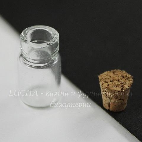 Стеклянная мини бутылочка, 18х10 мм