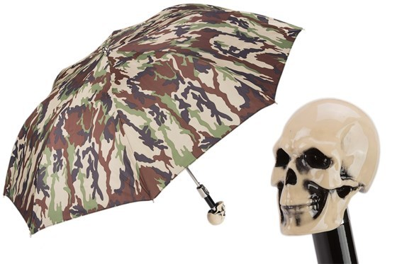 Зонт складной Pasotti Camouflage Skull Handle Folding Umbrella, Италия.