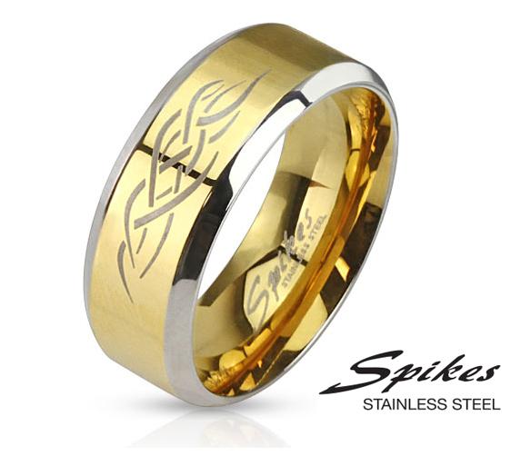 R-M0029-8 Мужское кольцо золотого цвета из стали с орнаментом, «Spikes»