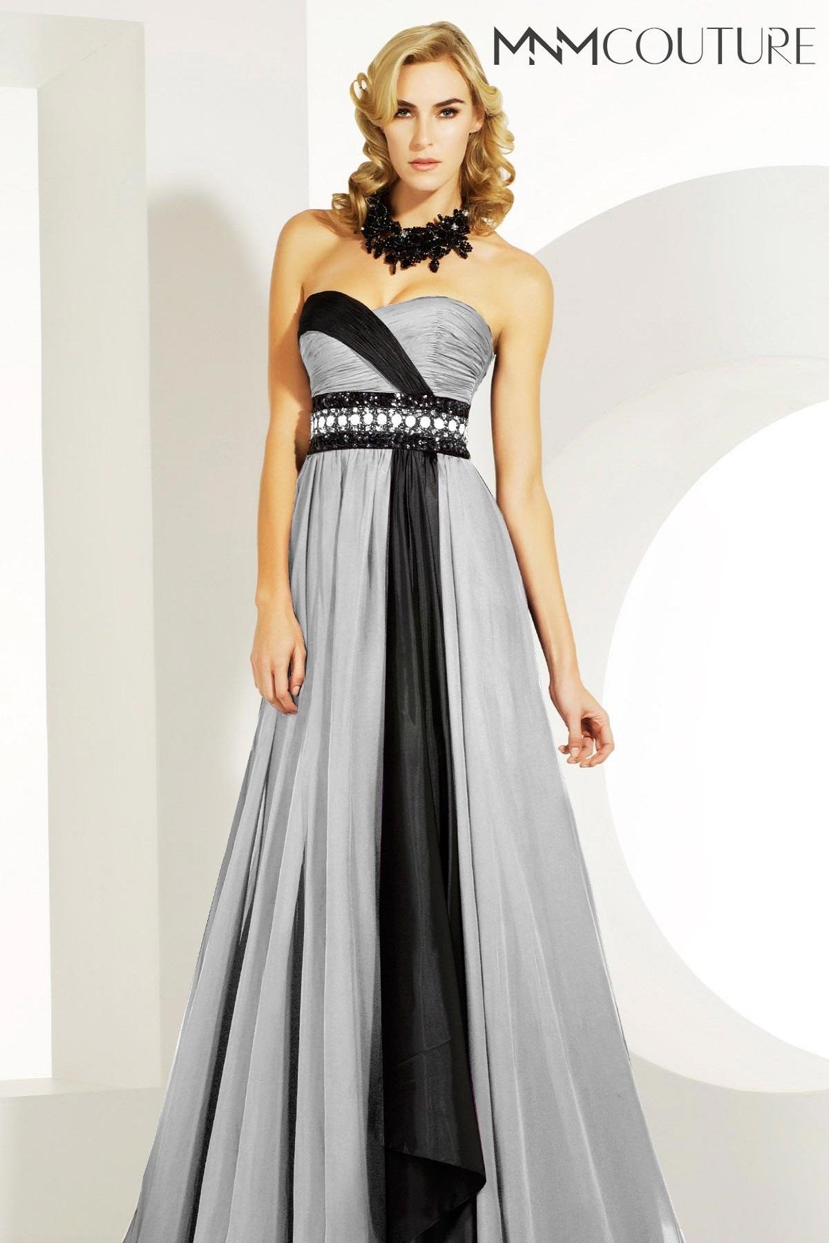 MnM Couture 6516 черно-белое платье в пол, лиф украшен камнями, небольшая накидка, юбка длинная и пышная