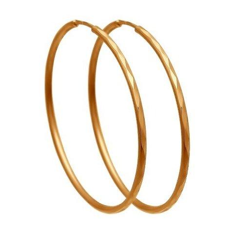 Серьги-конго из золота 585 пробы с алмазными гранями  арт.140009