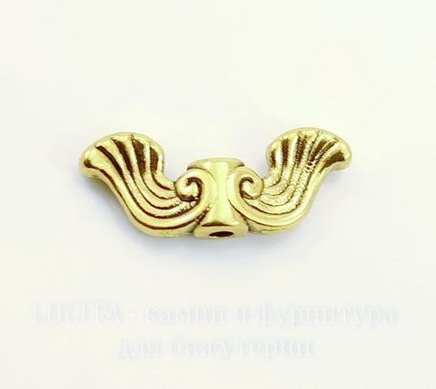 """Бусина металлическая """"Крылья ангела"""" 19х7 мм (цвет - античное золото), 10 штук"""