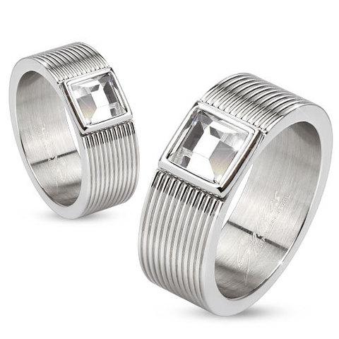 Кольца мужские и женcкие, Сталь с цирконом, SPIKES R-M3903
