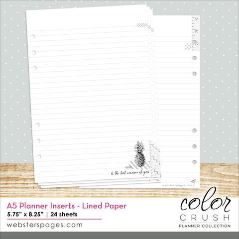 Внутренний блок страниц для планера  Color Crush A5 Personal Planner Inserts- Lined Paper 15х21см. А5