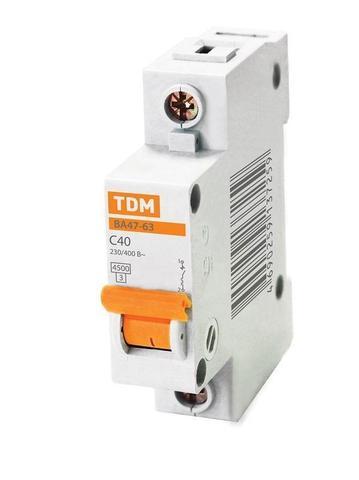 Автоматический выключатель (автомат) 1Р 40А ВА 47-29 TDM / IEK