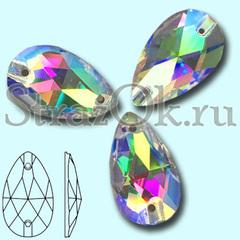 Стразы пришивные стеклянные Drope Crystal AB, Капля Кристал АБ прозрачный с радужным покрытием