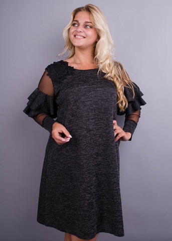 Юнона ангора. Нарядное женское платье плюс сайз. Серый меланж.