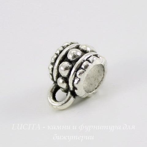 Бейл с узором (цвет - античное серебро) 10х6 мм