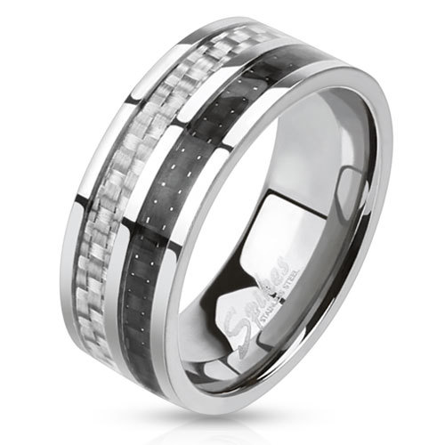 Кольцо мужское 21,5 размер сталь с карбоном SPIKES R-M0025-8