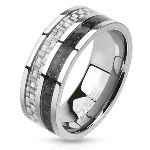 Кольцо мужское сталь с карбоном SPIKES R-M0025-8+