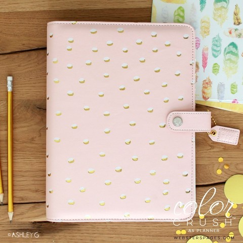 Планер A5 BLUSH & GOLD FOIL DOT BINDER ONLY by Websters Pages. БЕЗ внутреннего наполнения
