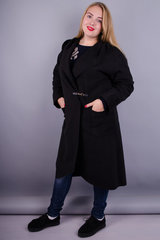 Сарена. Женское пальто-кардиган больших размеров. Черный.