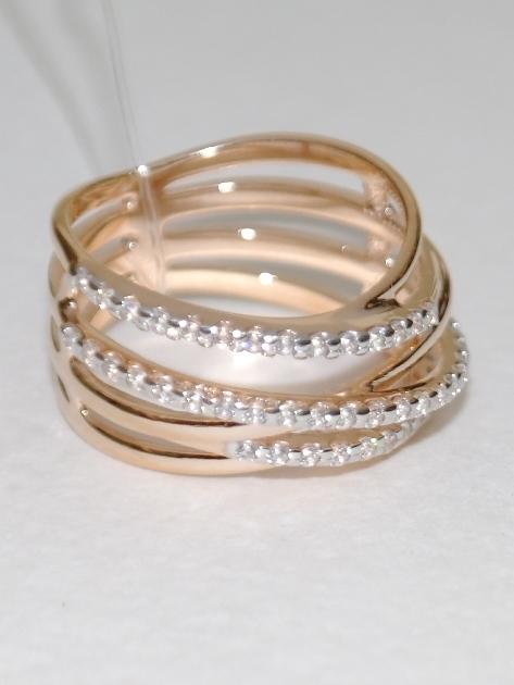 Широкое кольцо из золочёного серебра 0582
