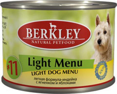 Консервы Berkley №11 Лёгкое меню индейка с ягнёнком и яблоками для собак
