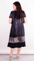 Лола лето. Стильное платье для больших размеров. Черный+серебро.