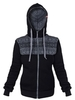 "Black women's insulated hoodie ""Horizons of the time"" with zipper"