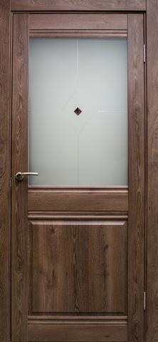 Дверь Эколайт Дорс Омега, цвет дуб шоколадный, остекленная