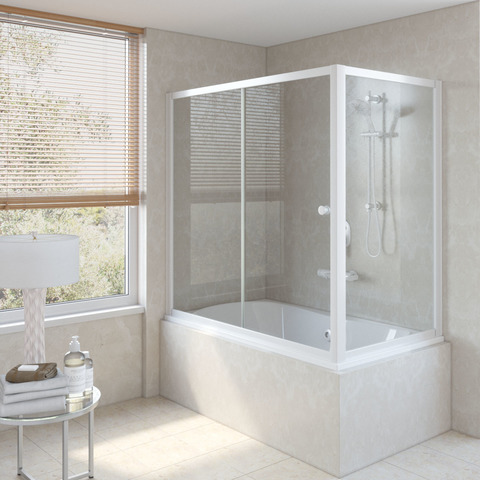 Шторка на ванну Vegas Glass ZV+ZVF профиль белый, стекло прозрачное